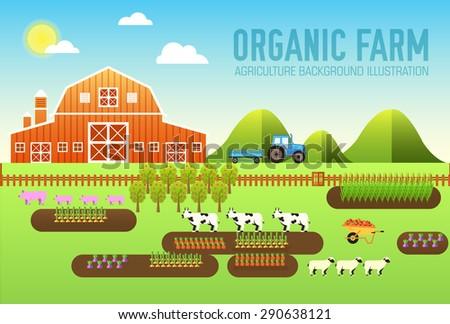 flat farm in village set