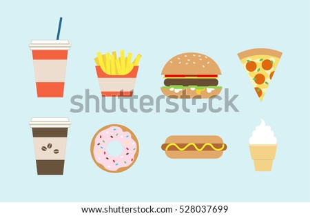 Flat fast food colorful illustrations