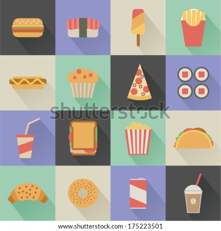 flat fast food icons on colorful square background