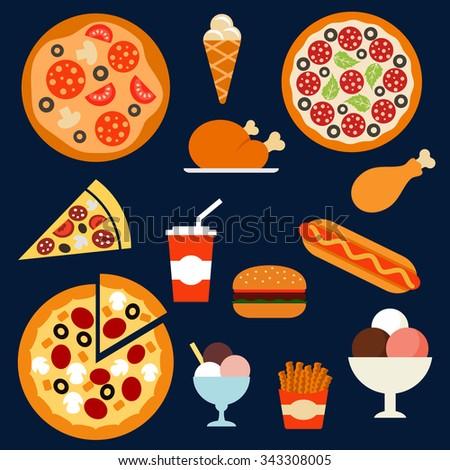 flat fast food menu icons of