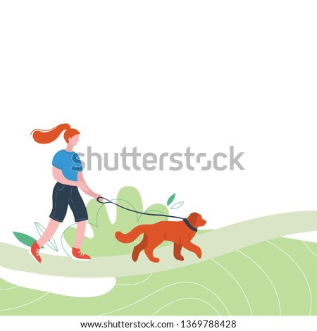 Flat figures of woman walking outdoors with dog. Girl and pet. Outdoor activities. People relaxing in nature in a beautiful urban park.