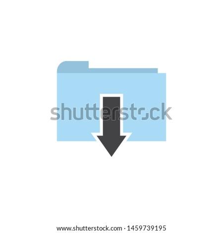 Flat file folder download icon vector image design illustration
