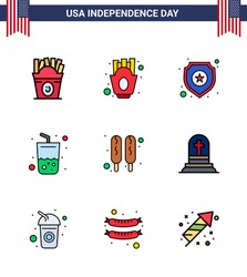 Flat Filled Line Pack of 9 USA Independence Day Symbols of hot dog; cola; shield; summer; glass Editable USA Day Vector Design Elements