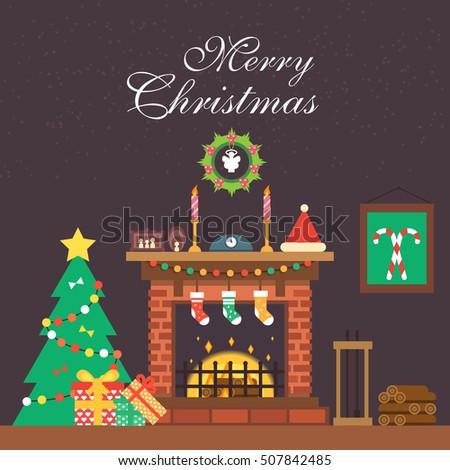 flat fireplace christmas