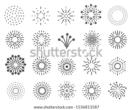 Flat fireworks. Festive sparkles, carnival salutes. Christmas, 4th july and winter holidays outline firework explosion vector element