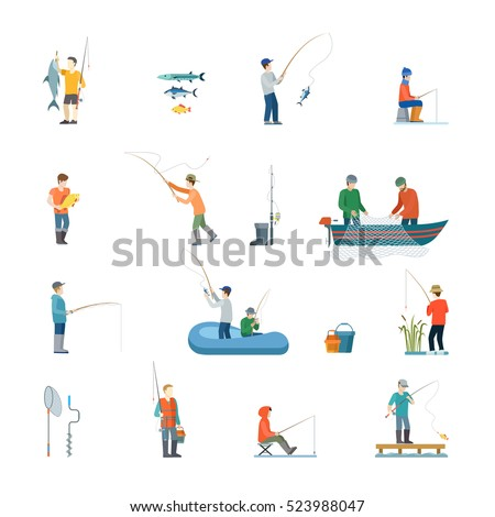flat fisherman with fish or in