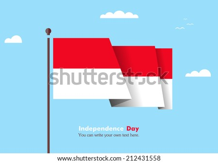 Flat flag against the blue sky. Flat flag fluttering in the wind on a background of clouds. The flat design of the flag on the flagpole. Independence Day. Flag of Indonesia