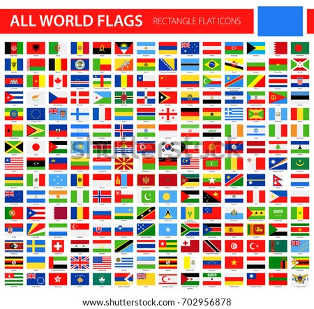 Flat Flag Icons - All World Vector illustration