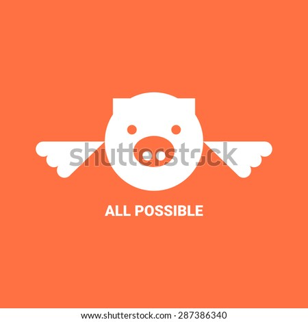 flat flying pig logo vector