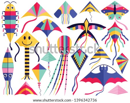 Flat flying wind kites set with tales, ribbons and ornaments. Kite festival elements of different types and shapes. Such as octopus, swallow, bat, butterfly, smile, squid and caterpillar. ストックフォト ©