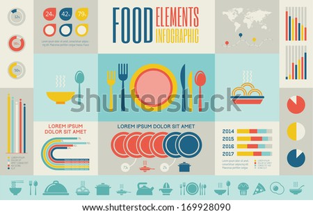 flat food infographic elements