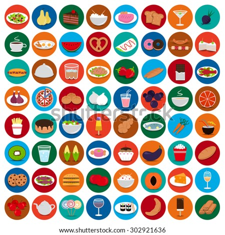flat food set  vector