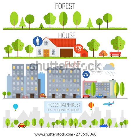 flat forest and country house