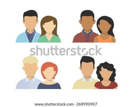 Flat four various couples isolated on white