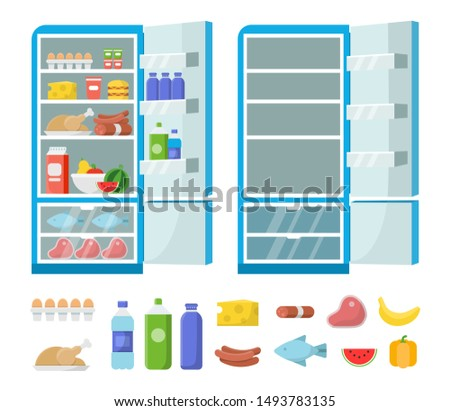 Flat fridge vector. Full and empty refrigerator in the kitchen. Freezer and food illustration