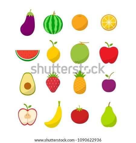 Flat Fruit Icon Set Vector Illustration