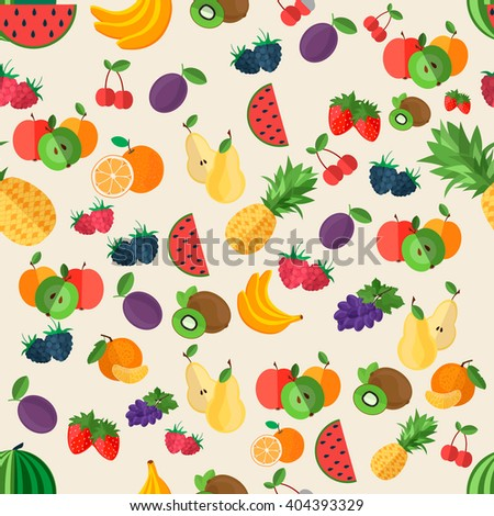 flat fruits seamless pattern