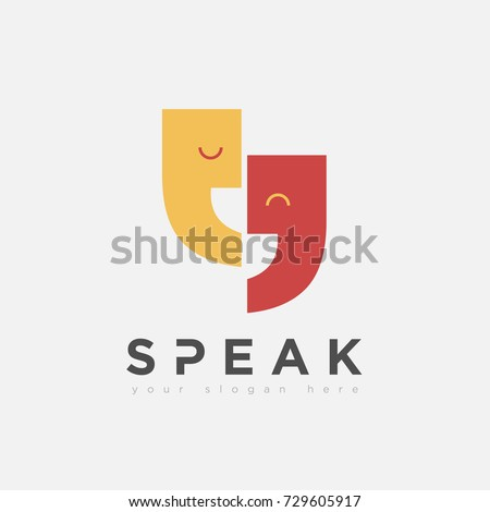 flat fun speak talk logo variation for business education company and organization community in white background