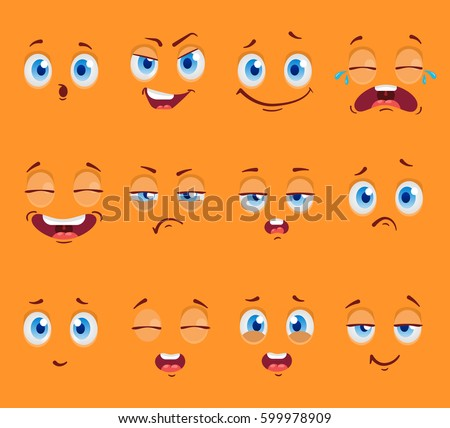 Flat funny cartoon faces with emotions. Vector illustration #599978909