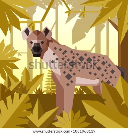 Flat geometric jungle background with Hyena