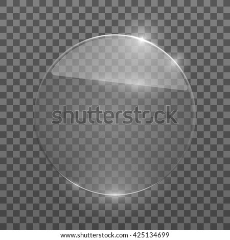 Flat glass circle. Glass plate. Isolated on transparent background. Vector illustration, eps10.