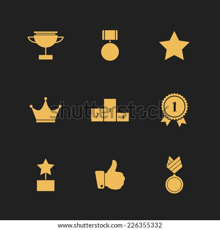 flat golden icons set  9 pieces
