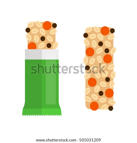 Flat granola bar in pack and without, isolated on white background.