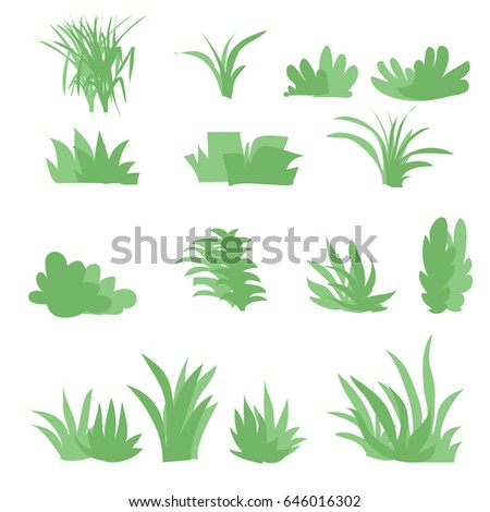 flat grasses set vectorbush