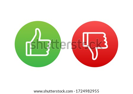 Flat green button on red background. Ok sign. Trumb up, great design for any purposes. Social media concept. Vector stock illustration. ストックフォト ©