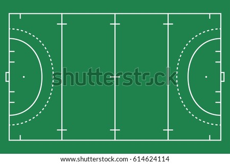 Flat green field hockey grass with line template. Vector stadium card.  Proportion outline illustration.
