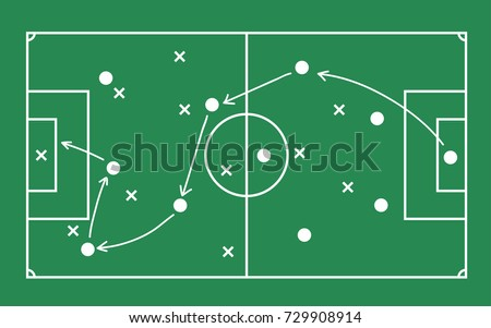 Flat green field with soccer game strategy. Vector illustration. Foto stock ©