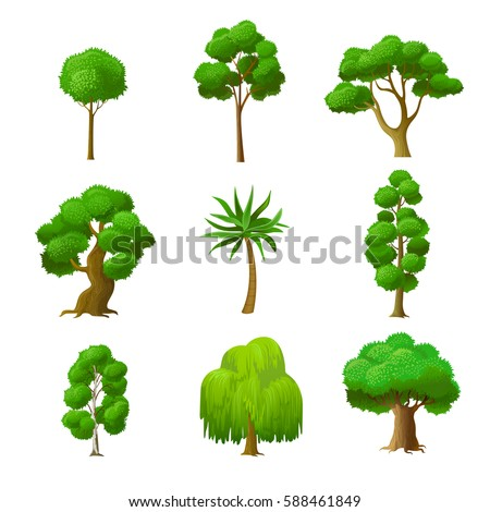 flat green trees vector