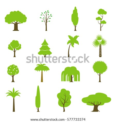 Flat green trees vector illustration set. Fir-tree, palm, oak, pine, coconut; fruit garden and forest icons. Nature concept.
