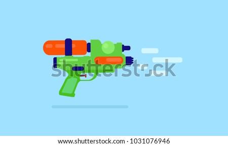 Flat green water gun,Songkran festival,flat plastic water gun.