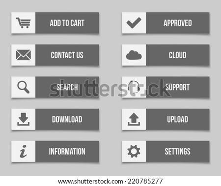 Flat grey buttons set
