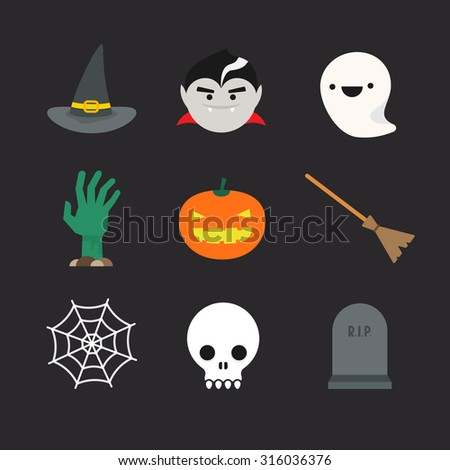 flat halloween icons witch hat