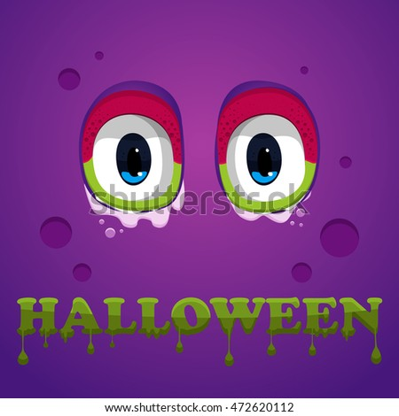 Flat Halloween monster icon. Halloween text. Vector, eps10. Monster eyes on violet background. Halloween abstract illustration. Poster design or background.