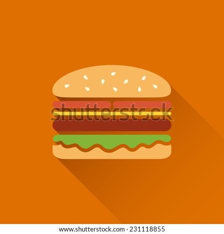 Flat hamburger symbol with long shadow