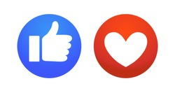 Flat hand and heart, signs of reaction in social networks. Dislike and emoticon, round blue symbol thumbs up, red icon with heart, love and like. Vector illustration