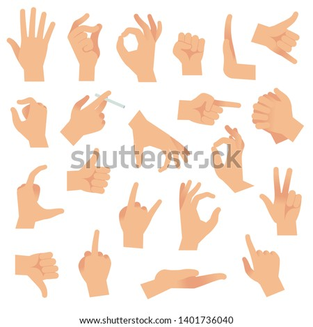 Flat hand gestures. Pointing human finger gesture, open hand signal. Arm communication attention fingertip signs vector collection