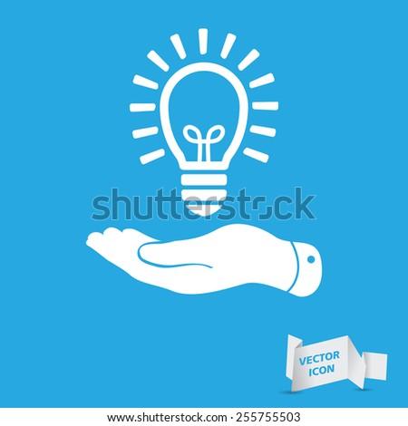 flat hand giving light lamp bulb icon - vector illustration