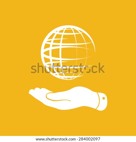 flat hand showing globe planet