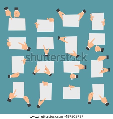 Flat hands holding banners and hands pointing to empty paper pieces. Vector illustration