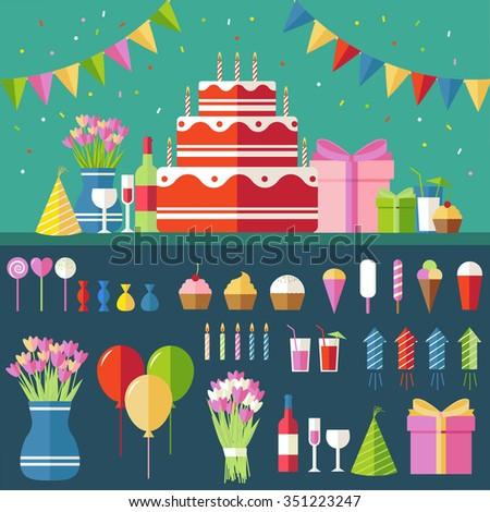 flat happy birthday festive