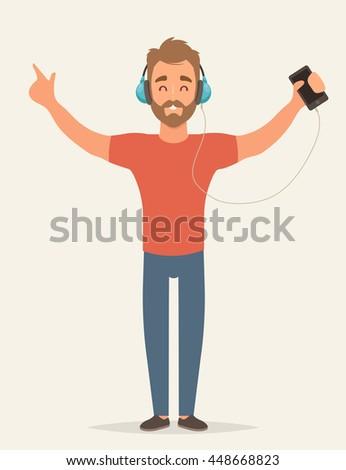 flat happy character listening