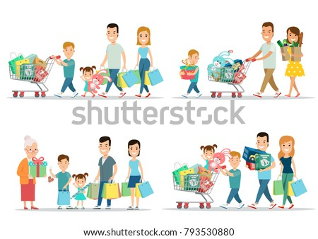 29ccf10fcf825 Flat Happy parents and children with purchases on cart vector illustration  set. Son, daughter
