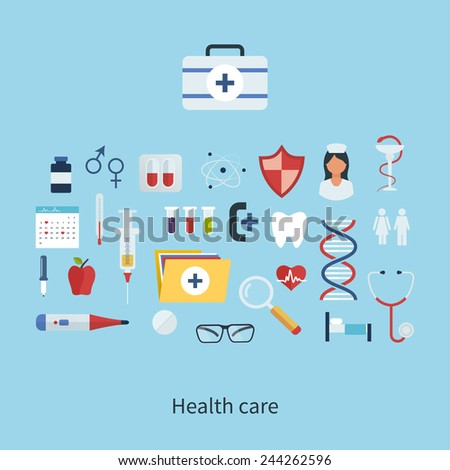 Flat health care and medical research background. Healthcare system concept.