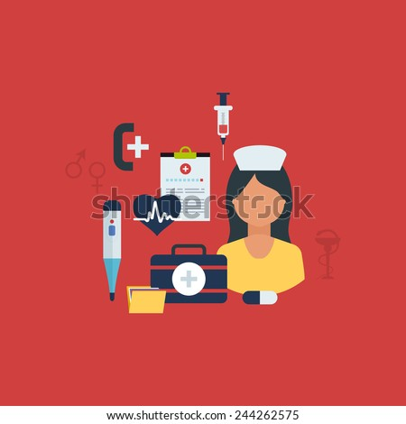 Flat health care and medical research background. Healthcare system concept. Nurse and medical tools icons