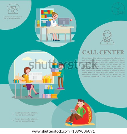 Flat helpline service colorful template with support workers of shop and medical call centers vector illustration
