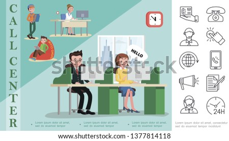 Flat helpline service concept with operators of call centers telephone support workers mobile megaphone documents clock linear icons vector illustration